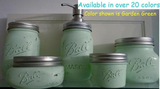 5 Piece Mason Jar Bathroom Organization Set - Painted Mason Jar Set - Mason Jars Soap Dispenser - Mason Jar Set - Light Green Jars