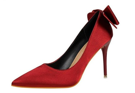 Huafeiwude Womens Fashion High Heel Bowknot Pointed Toe Stiletto Shoes Burgundy 35