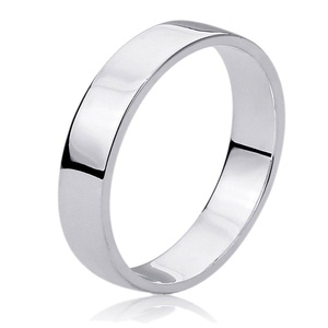 Free Engraving Personalized Sterling Silver 6MM Flat Wedding Band Ring