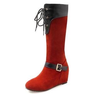 Fashion Heel Nubuck Women's Wedge Heel Round Toe Lace Up Buckle Knee High Boot (6.5, black)