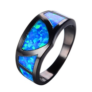 CHIC Blue Fire Opal Ring Triangle Design Black Gold Filled Vintage Wedding Rings Fashion Jewelry Femme 9.0