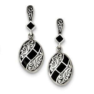 .925 Sterling Silver 37 MM Black Synthetic Stone Antiqued Dangle Post Stud Earrings