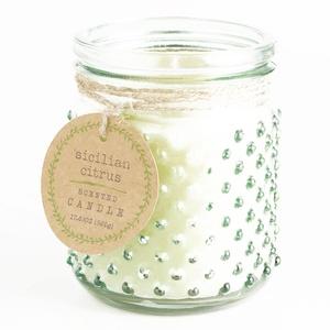 Green Sicilian Citrus Glass Hobnail Jar Candle