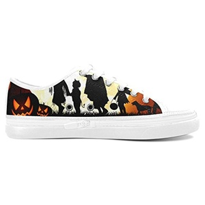 H-ome Art Halloween Custom Women's Nonslip Zippered Canvas Shoes Sneakers,White