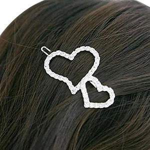 Happy Hours - 1 Pc Full Clear Crystal Double Heart Decor Hair Clips / Women Girls Sliver Dazzling Barrette Headpiece