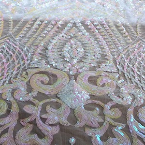 Magic pink sequins on white mesh embroidered wedding dress/evening dress lace fabric 51'' width by yard