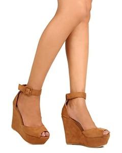 KAYLEEN FE39 Women Faux Suede Peep Toe Platform Wedge Sandal - Camel (Size: 5.5)