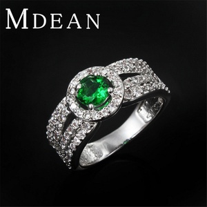 Slyq Jewelry Green Stone Ring Platinum Filled Bague Wedding Ring zircon Luxury Bague