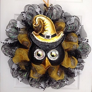 Adorable Black Halloween Owl With Moving Eyes Handmade Deco Mesh Wreath