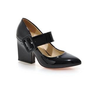 AIWEIYi Womens Lolita Buckles Pointed toe Chunky High-heel Mary Janes Pump Shoes