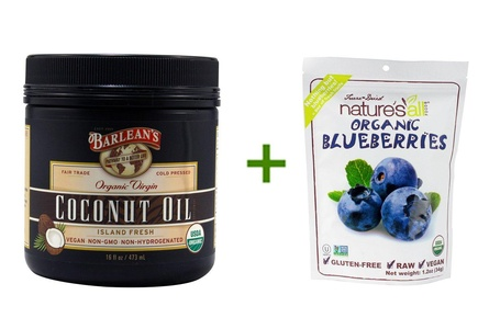 Barlean's Organic Virgin Coconut Oil Island Fresh -- 16 fl oz, ( 2 PACK ), Nature's All Foods Organic Freeze-Dried Raw Blueberries -- 1.2 oz