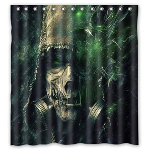 Personalized Green Skull Shower Curtain,Shower Rings Included 100% Polyester Waterproof 66