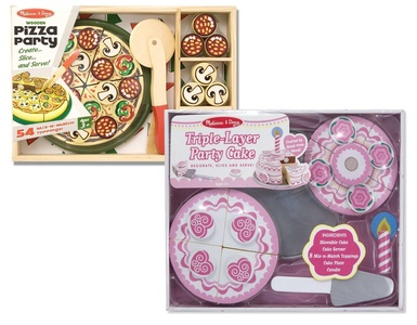Melissa & Doug Pizza Party and Triple Layer Party Cake Wooden Playsets