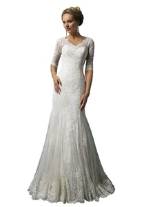 Angel Formal Dresses Women's Half sleeve Applique Mermaid Lace Wedding Dresses (16, White)