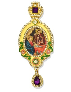 Byzantine Icon Nativity Holy Family Jeweled Russian Icon Crown 5 1/16 Inch