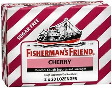 Fisherman's Friend Sugar Free Cherry Menthol Cough Drops, Cough Suppressant Lozenges, 40 Count