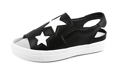 CHFSO Women's Casual Peep Toe Slip On Low Top Sling Back Low Heel Platform Sandals Black 7 B(M) US