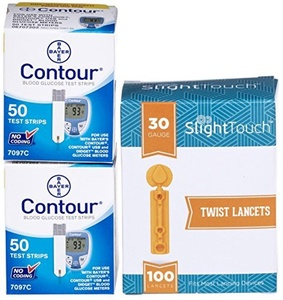Bayer Contour Test Strips 100 Count Plus 100 30g Slight Touch Lancets by Slight Touch