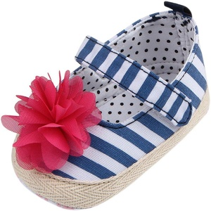 Fire Frog Infant Toddler Baby Girls Kids Princess First Walkers Shoes Crib Newborn Mary Jane Striped Big Flower Shoes Footwear Blue 6-12 Months