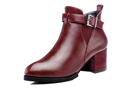 Youxuan Elegant Women's Ankle Bootie Almond Toe Ankle Strap Winter Martin Boots
