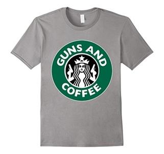 Men's GUN AND COFFEE tshirt Small Slate