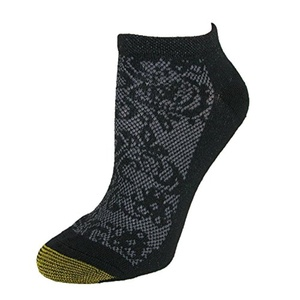 Gold Toe Womens Floral Sport No Show Socks (6 Pair Pack), Black