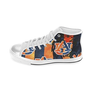 H-MOE Art Ncaa Auburn Tigers Men's Canvas Shoes High-top Lace-up Breathable Sneakers,White