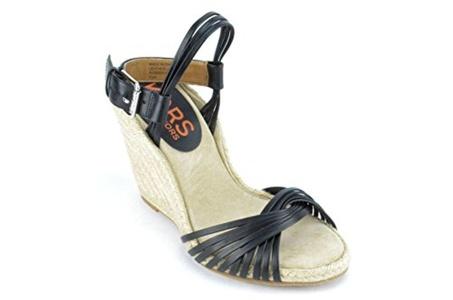 Kors By Michael Kors Maui Women's Black Leather Wedge Sandals US5.5