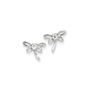 .925 Sterling Silver 11 MM Children's Dragon fly With CZ Center Post Stud Earrings