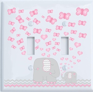 Pink Elephant Double Toggle Light Switch Plate Covers / Elephant Nursery Decor with Grey and Pink Chevron Switch Plates with Pink Hearts and Butterflies (Double Toggle)