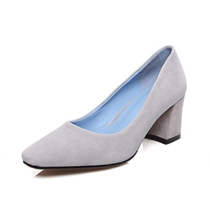 VASHOP Women's Squared Toe High Chunky Heels Suede Dress Pumps Shoes,Grey/6