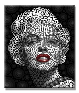 Charming Charm- Ben Heine Marilyn Monroe Circle Portrait Giclee Print on Canvas 24 x 28 Inch
