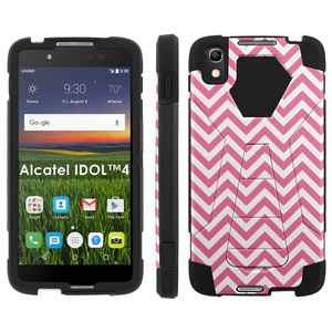 Alcatel One Touch IDOL 4 [Nitro 4/49] Phone Cover, Pink Chevron - Black Hexo Hybrid Armor Phone Case for Alcatel One Touch IDOL 4 [Nitro 4/49]