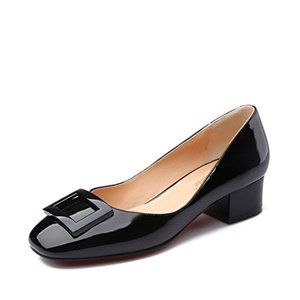 Patent leather shoes fall trend generous deduction/Comfortable thick with high-heeled shoes round shallow mouth-A Foot length=24.3CM(9.6Inch)