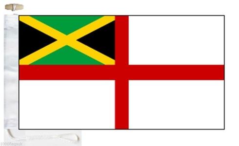 Jamaica White Ensign Courtesy Boat Flag - Roped & Toggle - 5'x3' - 150cm x 90cm