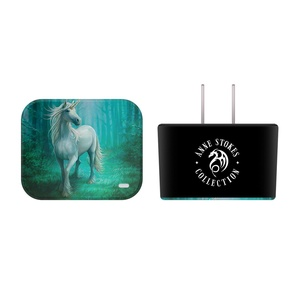 Official Anne Stokes Forest Unicorn Various Art Black US Charger & Micro-USB Cable for Samsung Galaxy Tab S2 8.0