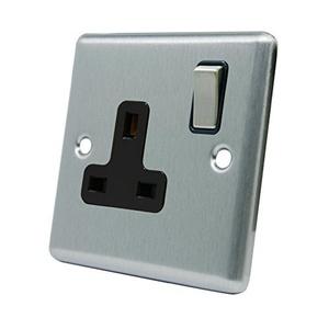 Single Plug Socket 1 Gang - Satin Chrome - Square - Black - Metal Rocker Switch - 13 Amp by A5 Products