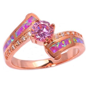 FT-Ring Pink Fire Opal Pink Topaz Jewelry Wedding Ring For Women Engagement Wedding Bridal Rings