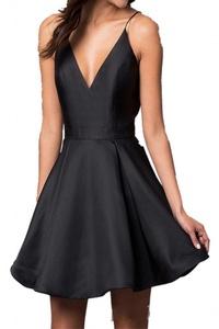 MILANO BRIDE Cheap Cocktail Dress Mini Party Dress Spaghetti V-neck Pocket Satin-26W-Black