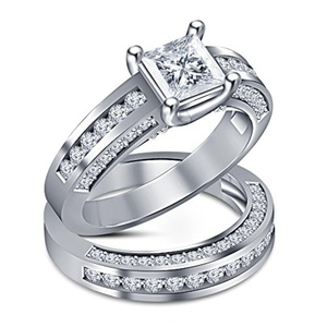 TVS-JEWELS Princess & Round Cut CZ 925 Sterling Silver Engagement Ring wedding Band Bridal Set (10.5)