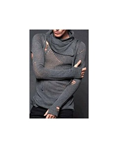 Lip Service Unisex Gothic Burning Man Apocalyptic Distressed Grey Sweater (S)