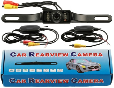 QuickFitLED Wireless Car Backup Reverse Camera Rearview High Definition Color Wide Viewing Angle Monitor with Transmitter and Receiver