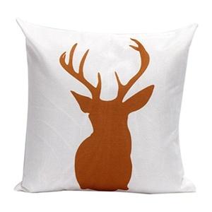 Iuhan Fashion Christmas Deer Pillow Case Sofa Waist Throw Cushion Cover Home Decor (F)