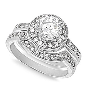 Sterling Silver Women's Clear CZ Ring Unique Engagement 925 Band 8mm Size 10 (RNG20658-10)
