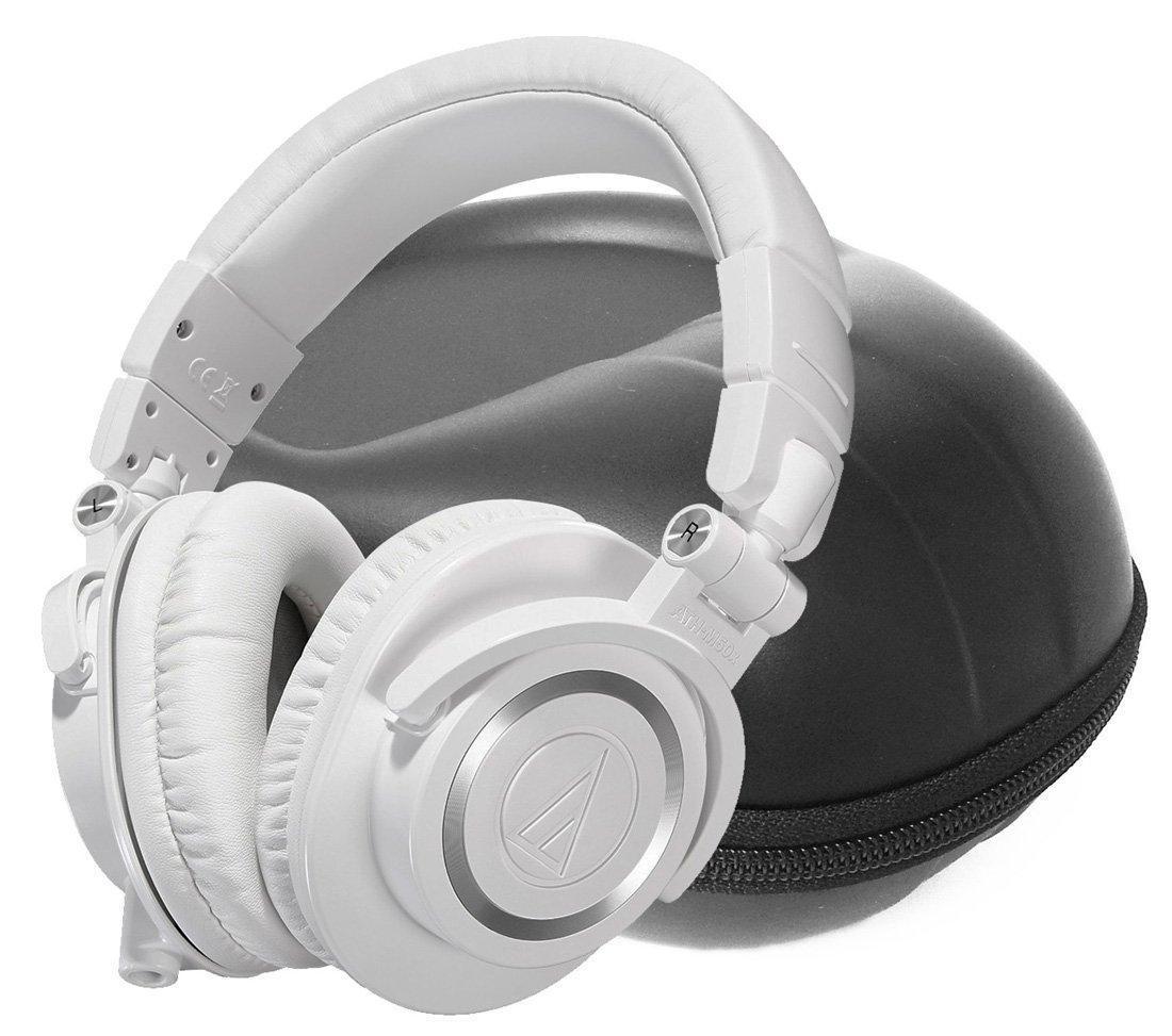 FitSand (TM) Storage Zipper Travel Carry EVA Hard Case Bag Pouch Box Cover for Audio-Technica ATH-M50xWH Professional Studio Monitor Headphones