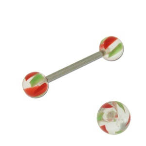 Acrylic Barbell Tongue Ring with Red & Green Ball