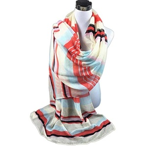 Datework Women Stripe Printed Paris Yarn Sarong Wrap Shawl Style Scarf (Red)
