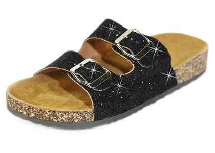 Slide Sandals for Women, H2K Women's Summer Comfy Genuine Leather Footbed Slide Sandals Slip-On Flat Slippers Flip Flops Shoes Adjustable Buckled Straps, Black Glitter & Beige Size 8 M [US Size]