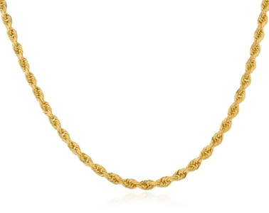 14k Yellow Gold Heavy 3mm Solid D-cut Rope Chain Necklace - 18