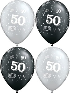10 x 50th Streamers & Confetti, Black & Silver, Birthday Party Balloons - 11 by Swoosh Supplies